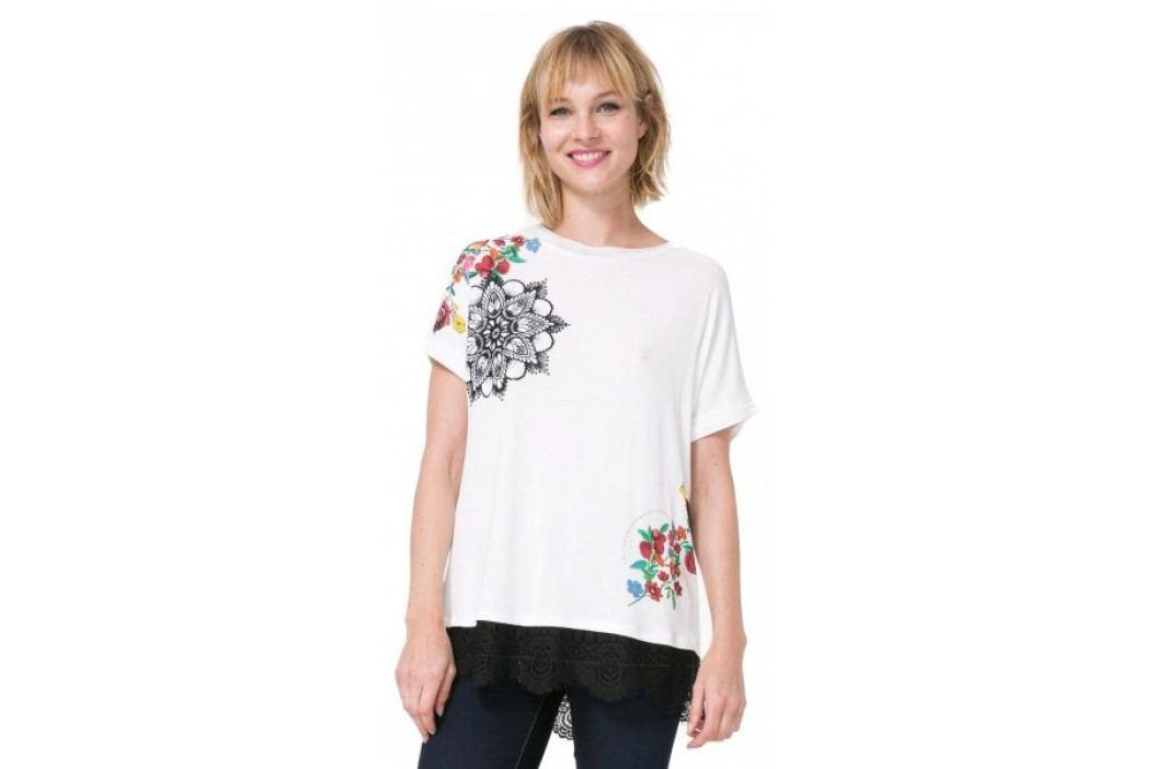 Desigual T-shirt damski Oporto S kremowy Koszulki