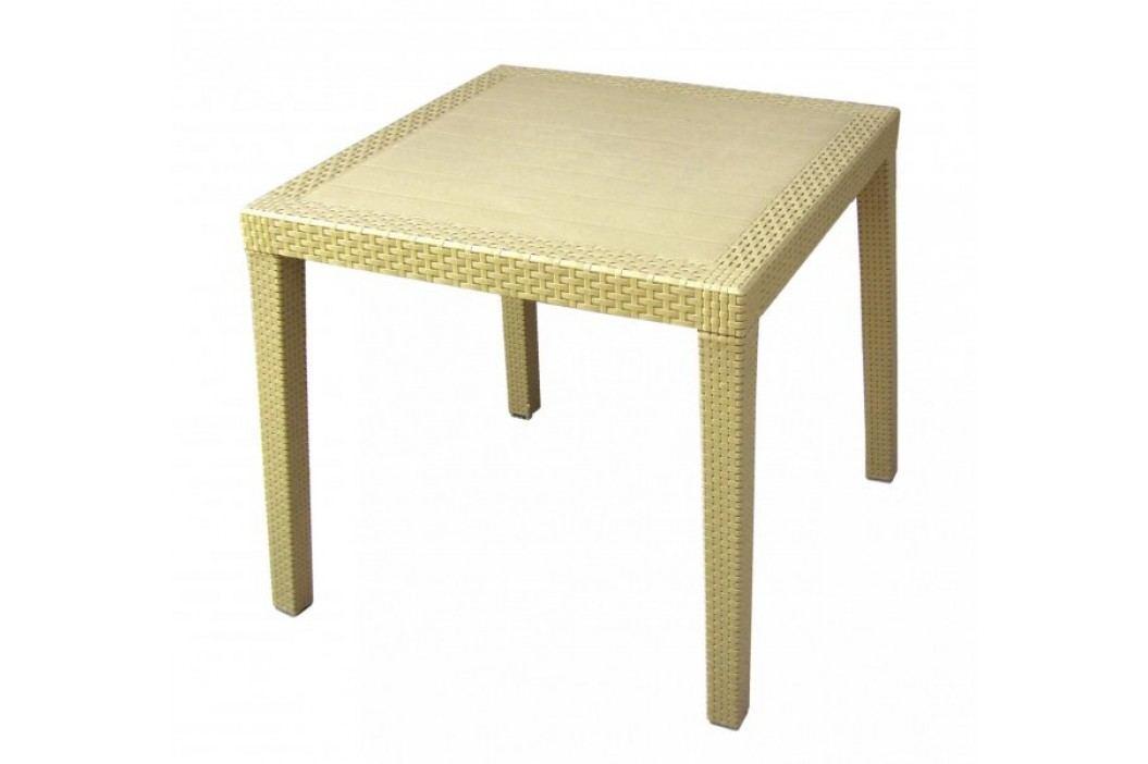 MEGA PLAST stół ogrodowy MP696 RATAN LUX stół 71 x 75,5 cm, kremowy Stoły ogrodowe