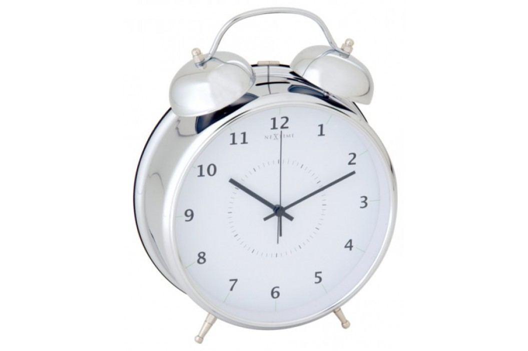 NEXTIME Wake Up 20 cm, biały/srebrny Budziki