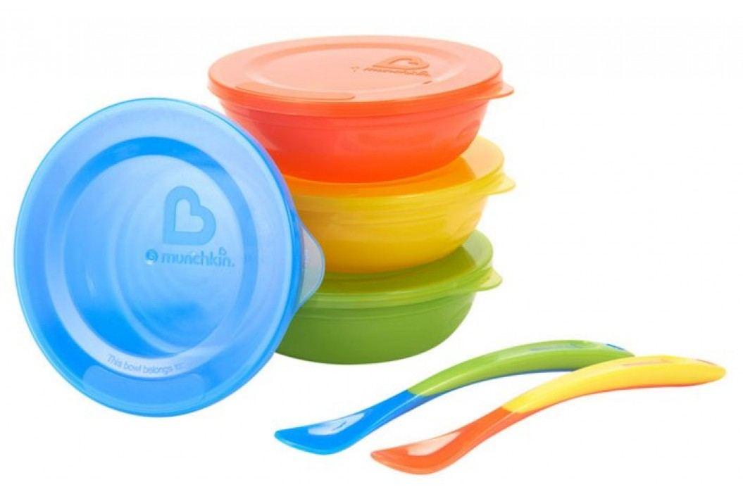 MUNCHKIN Zestaw kolorowych miseczek z pokrywkami i łyżeczkami Przybory do jedzenia