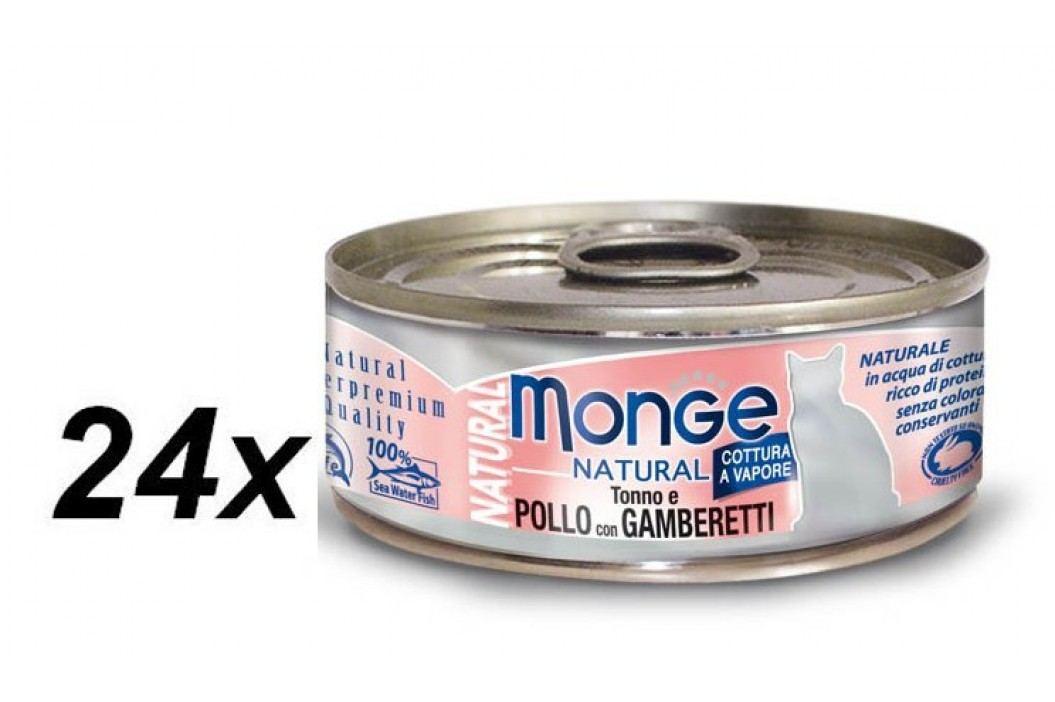 Monge mokra karma dla kota Natural tuńczyk z krewetkami 24 x 80 g Konserwy