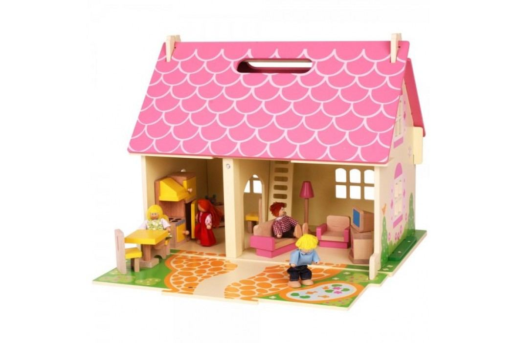 Bigjigs Toys Przenośny drewniany domek dla lalek Drewniane domki dla lalek