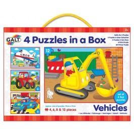 Galt 4 zestawy puzzli w pudełku - pojazdy