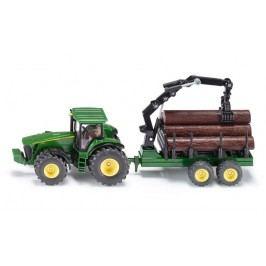 SIKU traktor John Deere z przyczepą leśną 1:50