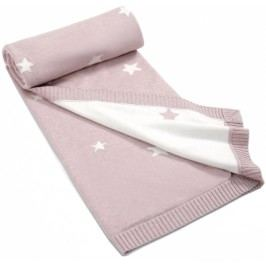 Mamas&Papas Dwustronny, tkany koc w gwiazdki, 100 x 70 cm, różowy