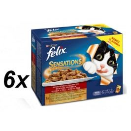 Felix Sensation mix w galaretce - saszetki z  jagnięciną, makrelą, śledziem i indykiem - 6 x (12x100g)