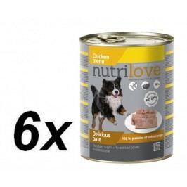 Nutrilove mokra karma dla psa z kurczakiem 6 x 800g