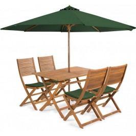 Fieldmann meble ogrodowe EMILY 4 + poduszki + parasol, zielone
