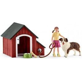 Schleich Piesek i właścicielka + psia buda 42376