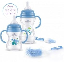 BAYBY Zestaw 2 butelek antykolkowych ze szczotkami 6m+, niebieski
