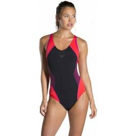 Speedo Strój Fit Splice Muscleback Black/Electric Pink/Lava Red 34