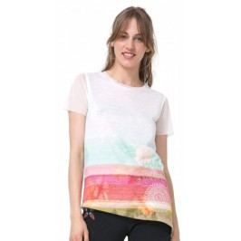 Desigual T-shirt damski Asimetric Polynesia XS biały
