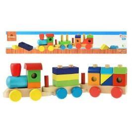 Teddies drewniany pociąg + 2 wagony