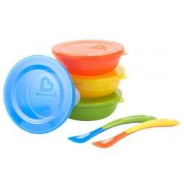 MUNCHKIN Zestaw kolorowych miseczek z pokrywkami i łyżeczkami