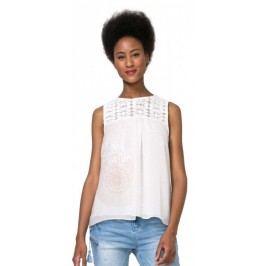 Desigual top damski Cuello Sm Lace L kremowy