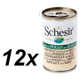 Schesir mokra karma dla kota z kurczakiem i ryżem 12 x 140g